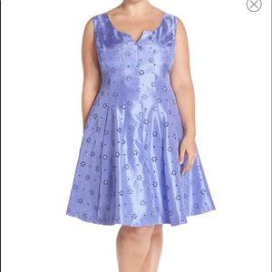 Dresses & Skirts - Notch Neck Eyelet Shantung Fit & Flare Dress